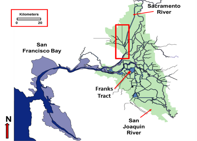 The Sacramento-San Joaquin River Delta. The red box highlights the area mapped in October 2014.
