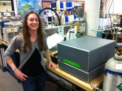 Amy Steiker with Picarro G5101-i at CU Lab.jpg