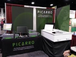 The Picarro booth featured isotopic carbon (G2201-i) & 5-species GHG (G2508) analyzers plus Forerunner chambers and TASCO table