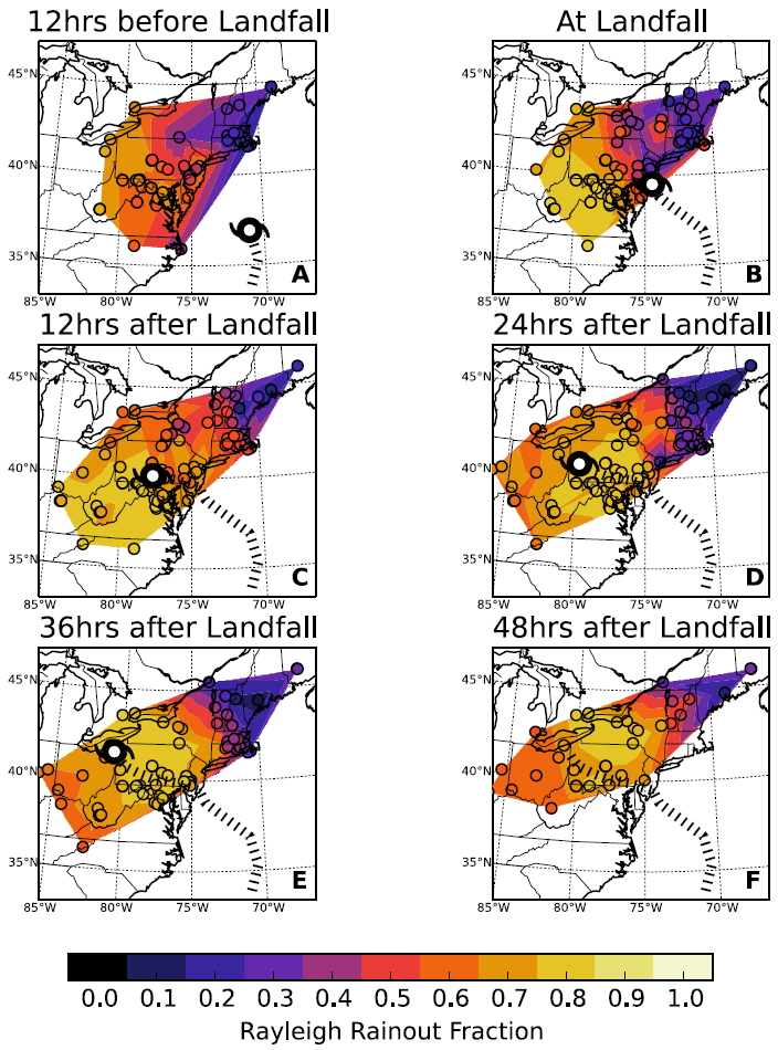 The spatio-temporal evolution of precipitation efficiency during Superstorm Sandy based on data samples collected during the storm and Lagrangian back-trajectory modeling (from Good et. al. 2014b)